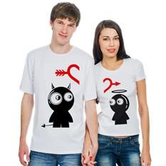 Парные футболки Человечек с нимбом