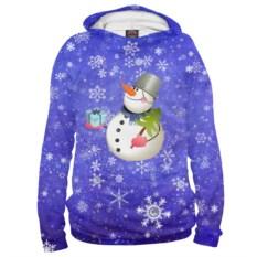 Мужское худи Снеговик с подарком
