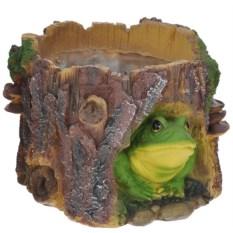 Садовая фигура-кашпо Пень с лягушкой