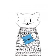 Открытка с конвертом Кот в свитере. Письмо