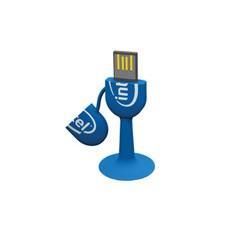 Флеш-карта на 4 Gb в форме микрофона на присоске, синяя