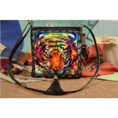 Женская сумка-планшет с принтом Яркий тигр