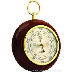 Круглый барометр из бука и латуни