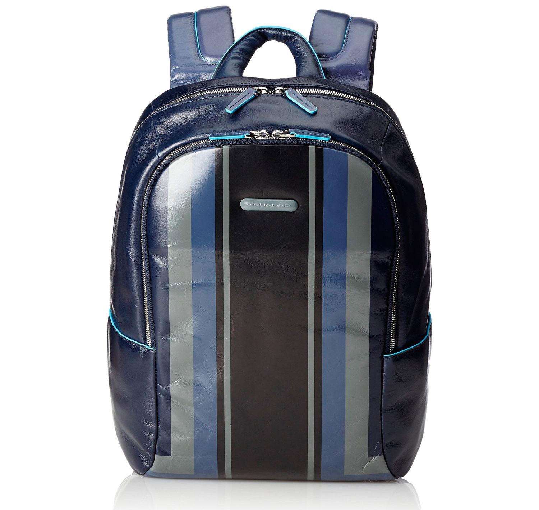 Синий кожаный рюкзак Piquadro Blue Square