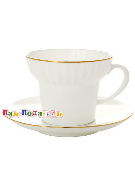 Чайная чашка с блюдцем Золотой кантик