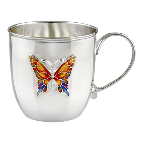 Детская серебряная кружка Бабочка