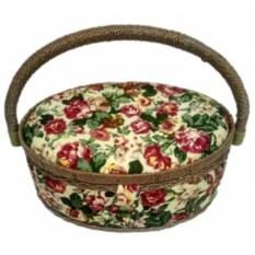 Круглая шкатулка для рукоделия Цветочки с подносом