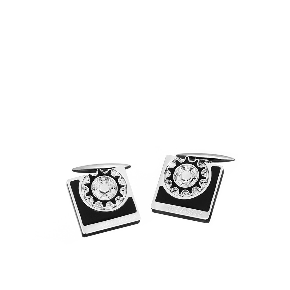 Сереряные мужские запонки Graziella с эмалью
