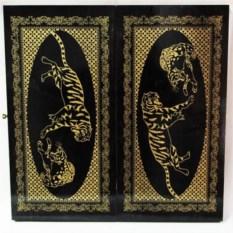 Средние нарды из дерева Тигры (цвет: черно-золотой)