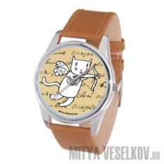 Часы Mitya Veselkov Кот-амур с луком коричневого цвета