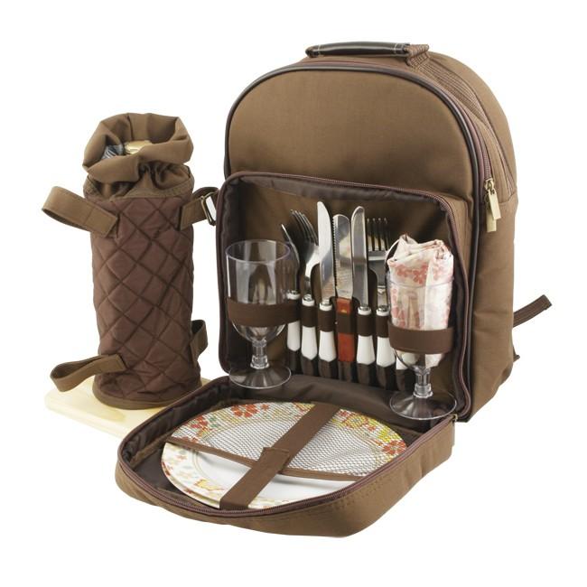 Набор для пикника на 2 персоны в рюкзаке, коричневый