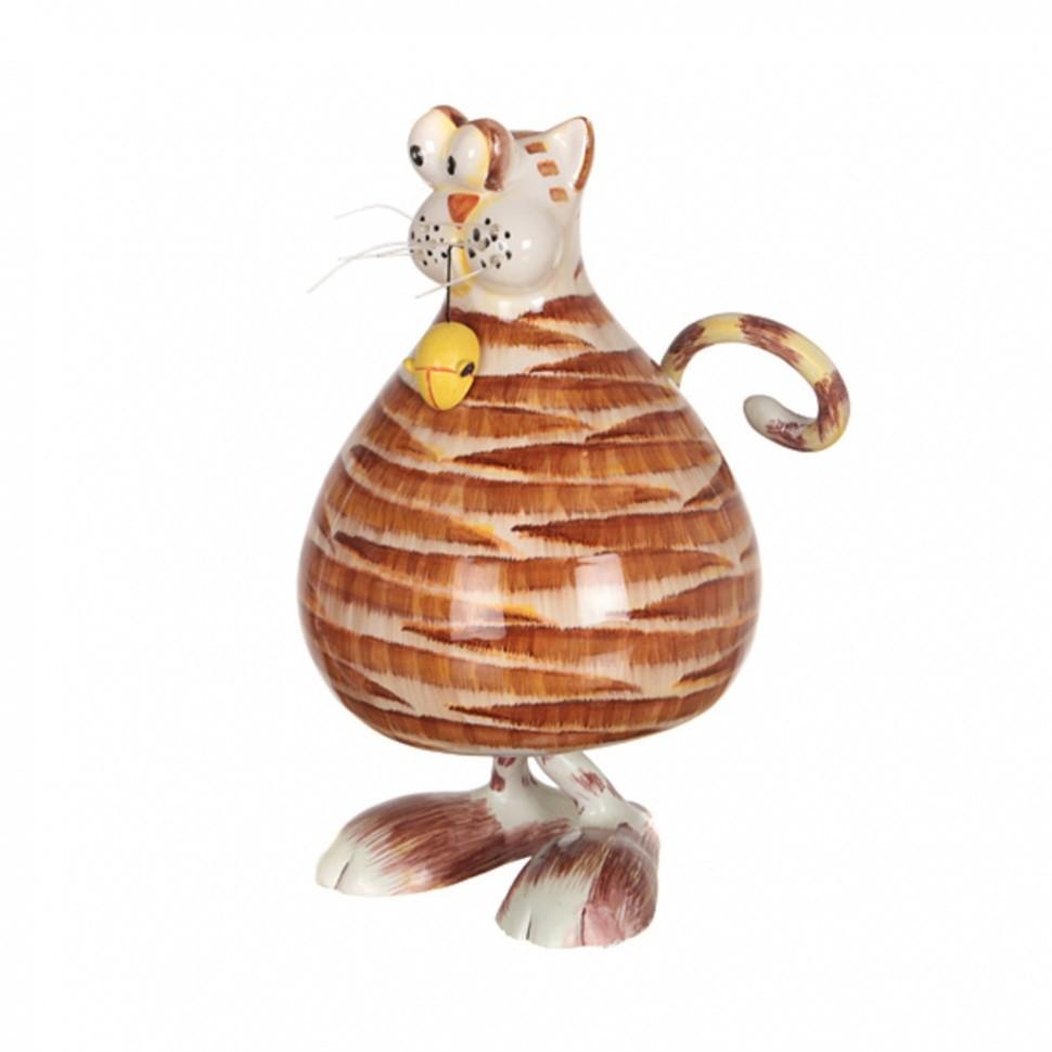 Статуэтка с качающейся головой Рыжая кошка с мышкой