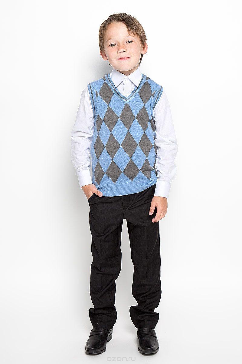 Голубой вязаный жилет для мальчика Tsarevich