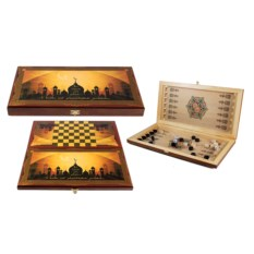 Настольная игра Мечеть: нарды, шашки, размер 40х20 см
