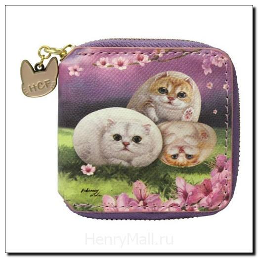 Кошелек женский, с котиками «Цветы вишни»