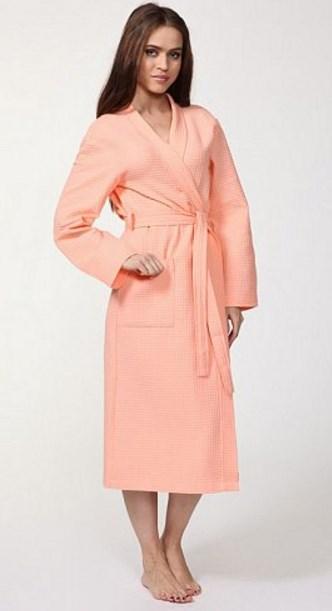 Персиковый вафельный халат Convinto Lungo