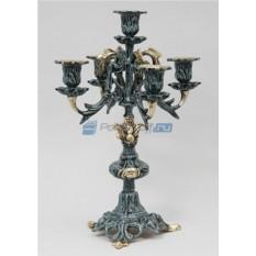 Пара синих канделябров из бронзы на 5 свечей Традиция
