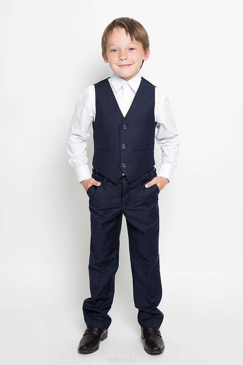 Темно-синий комплект для мальчика из жилета и брюк S'cool