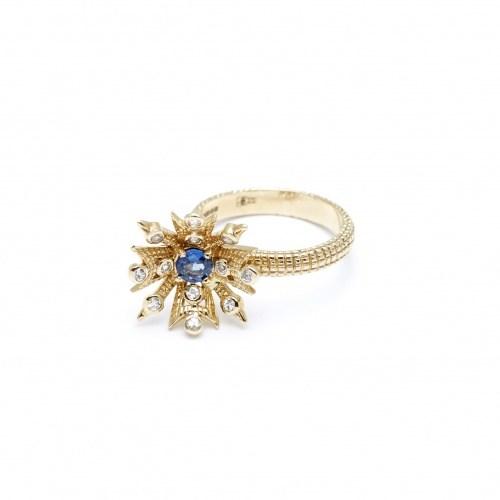 Кольцо из золота с сапфирами Antique star