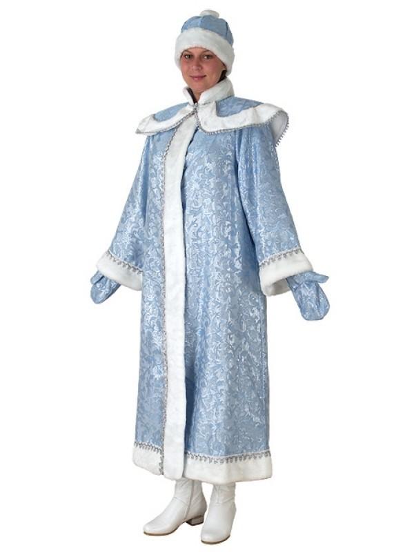 Костюм Снегурочка, длинная с пелериной  (сантун голубой)