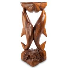 Большая деревянная статуэтка Пара дельфинов с чашей