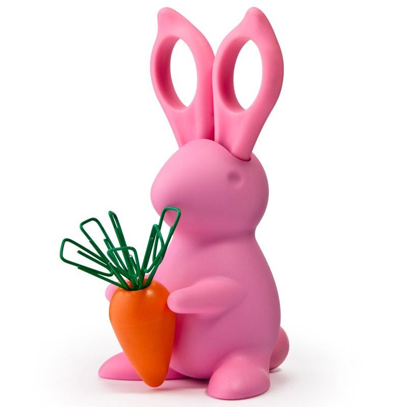 Розовые ножницыи магнит со скрепками на подставке Bunny