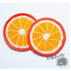 Пара вязаных подставок под чашки Апельсин