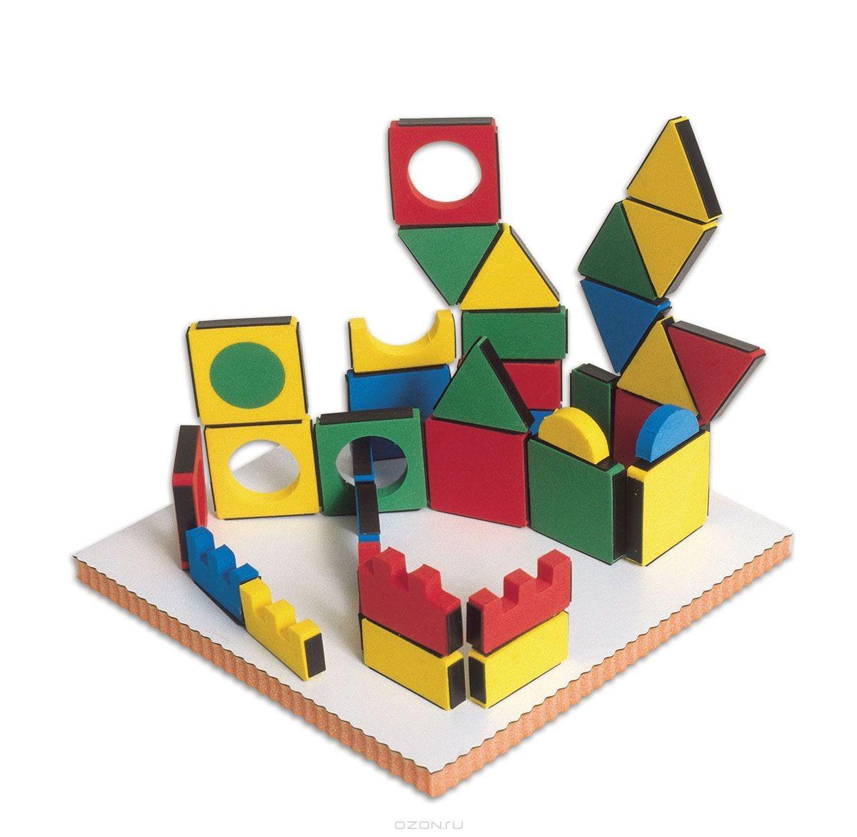 Мягкий конструктор Edushape Волшебные формы, с доской, 54 элемента