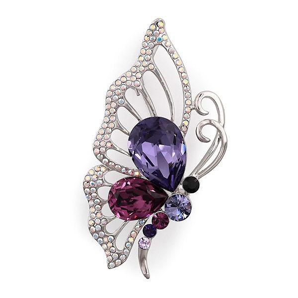 Брошь с кристаллами Swarovski Большая бабочка