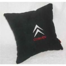 Черная с красно-белой вышивкой подушка Citroen