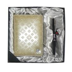 Набор ручка и золотая обложка для документов Pierre Cardin