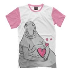 Мужская розовая футболка Влюбленный ждун