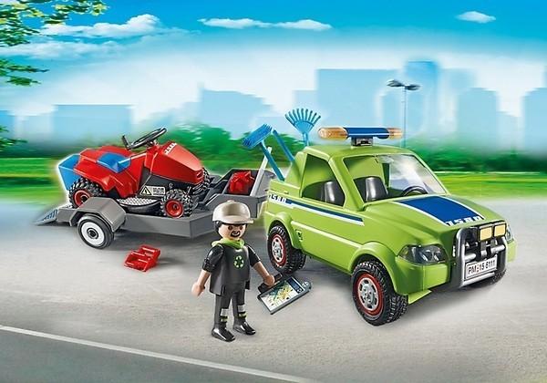 Конструктор Playmobil Автомобиль с колесной газонокосилкой