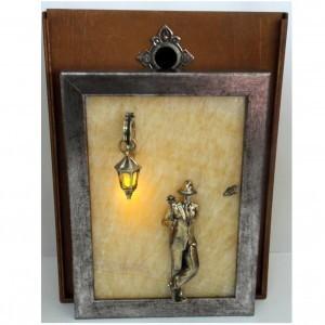 Картина Бронза сквозь камень: Мужчина, роза и фонарь