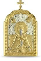 Настольная серебряная икона с образом Божьей матери Державной, с позолотой