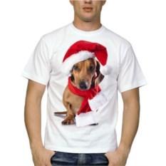 Мужская новогодняя футболка Такса