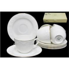 Чайный набор Белая Роза, 12 предметов (костяной фарфор)