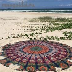 Круглое пляжное покрывало Павлиний хвост