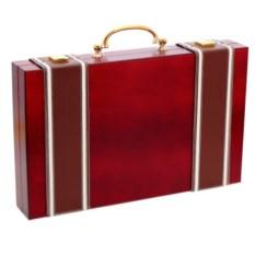 Нарды в виде дипломата с ручкой (цвет: красный)