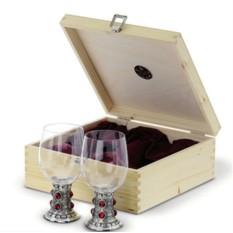 Набор бокалов для вина с оловянным декором в деревянном кейсе Rubin