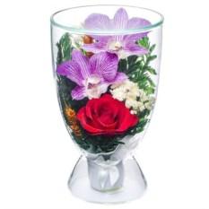 Композиция из орхидеи и розы в подарочной упаковке