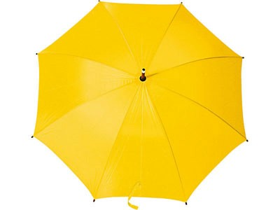 Полуавтоматический зонт-трость  с деревянной ручкой, желтый