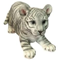 Декоративная садовая фигурка Игривый белый тигренок