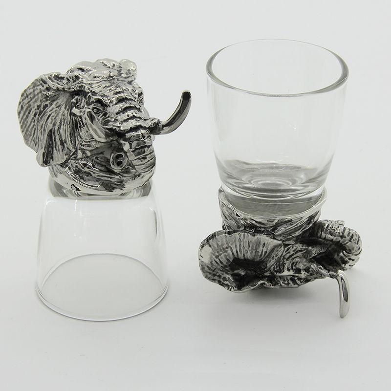 Набор рюмок-перевертышей с литыми головами Слон