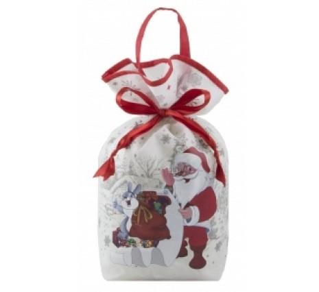 Белая новогодняя сумка с конфетами