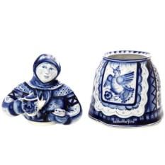 Скульптура-чайница с росписью гжель Матрена