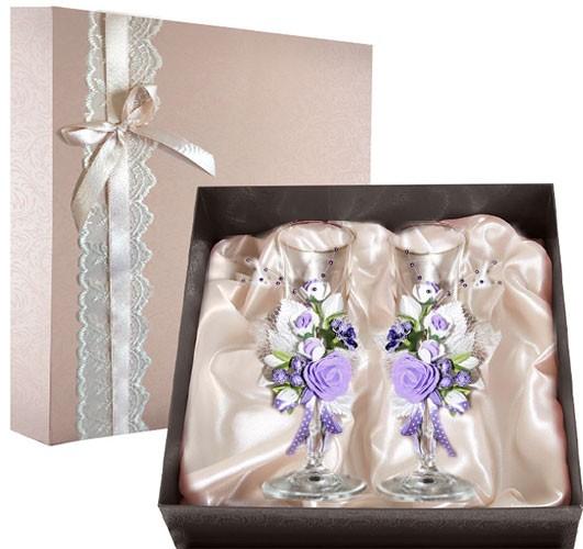 Набор свадебных бокалов в подарочной коробке Ретро №6