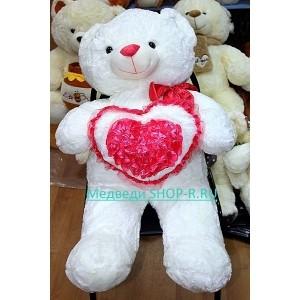 Большой мишка с сердечком Amor