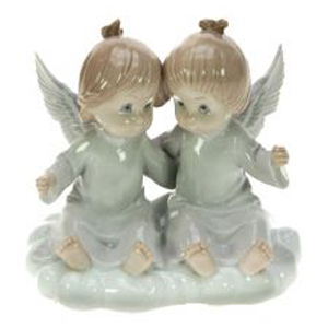 Фигурка декоративная Ангелочки на облаке, фарфор