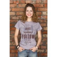 Серая женская именная футболка Just be